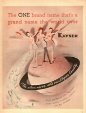 1944 WW 2 era AD  KAYSER Hosiery , gloves , lingerie, Art Ladies on Globe 090617
