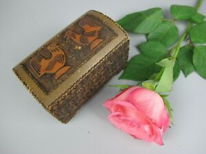 Small vintage wooden hinged Box / Chest. Cockerel Chicken pyrography decoration.