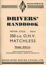 Matchless G3l 41 WD Drivers Handbook AMC Motorcycles Manual Book