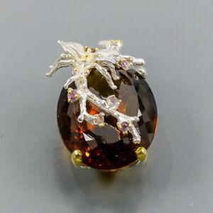 37 ct+ IF Quality gem Cognac Quartz Pendant Silver 925 Sterling  /NP13891