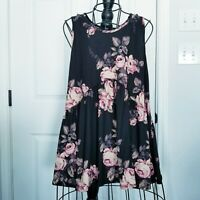 Agnes and Dora black floral women's tunic top pink flowers sleeveless sz. Large