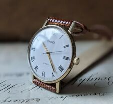 Gents Vintage Sekonda Slim Gold Plated Roman Numeral 23 Jewel USSR Watch Working