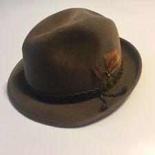 Vtg Biltmore Velevet Velour Men's Hat 7 Brown Fedora Nashville TN Made Canada