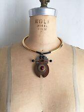 MARNI Resin Wood & Mixed Metal Figural Choker Necklace