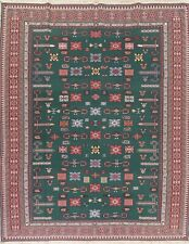 One-Of-a-Kind Geometric Teal Green Sumak Turkish Hand-Woven 9'x12' Area Wool Rug