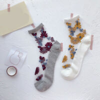 Summer Women Transparent Lace Thin Socks Floal Short Boat Focks Ankle Socks