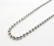 "14K Solid White Gold Moon Cut Chain 26"" 3mm wide 17.8 Grams *Solid*"