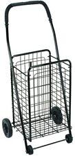Folding Shopping Cart Large Black Rolling Wheels Grocery Utility Basket Trolley