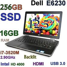 "Small  Dell  E6230 3rd Gen i7-3520M 2.9GHz (256GB SSD & 16GB) 12.5"" HDMI USB-3.0"