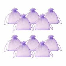 200x Rectangle Organza Gift Candy Bag Blue Violet 10cm Party Favour Pouch Bags