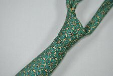 HERMES PARIS 7297 EA MADE IN FRANCE Tie 100% Silk Green/Yellow Color L59 W3.1