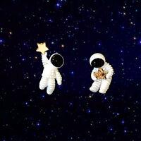 Lovely Asymmetrical Space Astronaut Stud Earrings For Women Fashion Jewelry Gift