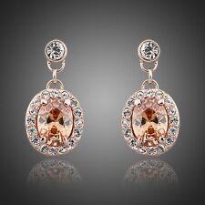 Rose Gold Earrings Champagne Cubic Zirconia earring Orange Drop Fashion Earrings