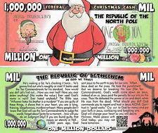 Santa Cartoon Million Dollar Bill Fake Funny Money Gospel Tract Novelty Note