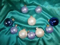 ~  10 alte Christbaumkugeln Glas blau weiß Christbaumschmuck Vintage Weihnachten