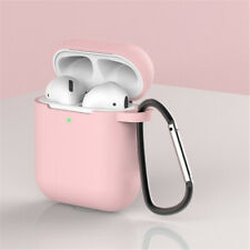 For Apple AirPod 2 & 1 Silicone Case+Keychain Clip Protective Simple Color Cover