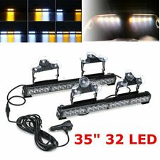 Amber & White LED Windshield Emergency Hazard Warning Strobe Light Beacon Lamps