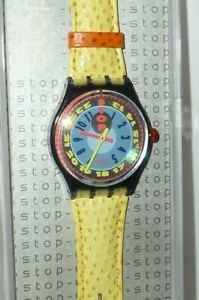 Swatch 1993 Swatchuhr Stop Ssm 102 Stopswatch Stopwatch Yellow Star Montre