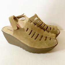 Skechers NEW Beige Suede Leather Peep Toe Memory Foam Platform Sandals 6.5
