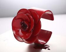 VERY BOLD MOULDED ACRYLIC RED FLOWER BANGLE - FREE UK P&P.......T115