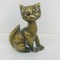 Quirky Vintage Small Brass Cat Ornament Paperweight