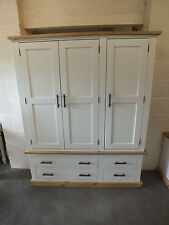 SHABBY CHIC PAINTED 3 DOOR WARDROBE WITH DRAWERS HAND MADE DISTRESSED ROUGH SAWN