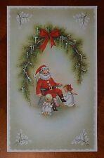 Vintage UNUSED MICA GLITTER SPARKLES Christmas Card CHILDREN ANGELS SANTA