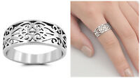 Sterling Silver 925 PRETTY SCROLL WITH HEART DESIGN SILVER BAND RING SIZES 5-10