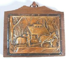 Vintage 1970s Handcrafted Copper on Wood Plaque by Quebec artist A Nadeau