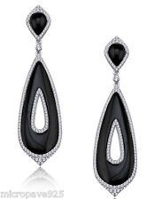 Designer Black Onyx Dangle Earrings Pave Setting Cubic Zirconia With Silver 925