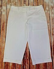 Cato Womens Sz 14 White Career Capri Pants Cuffed