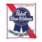 Pabst Blue Ribbon PBR 45 X 60 Fleece Blanket White