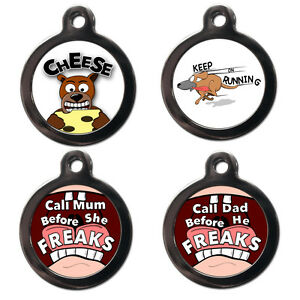 Funny PET ID TAGS - Dog Cat PET NAME TAGS Custom ID Discs - Personalised FREE