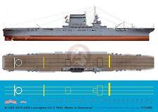 Peddinghaus 1/1250 USS Lexington (CV-2) Aircraft Carrier Markings 1942 WWII 3276