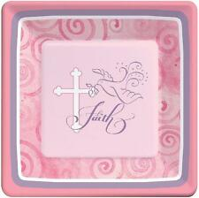 "Faithful Dove Cross Pink Religious Christian Party 7"" Square Dessert Plates"