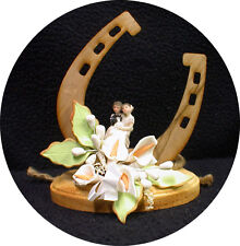 "Country Western ""Luck of the Horse shoe"" Wedding Cake topper funny Barn Cowboy"