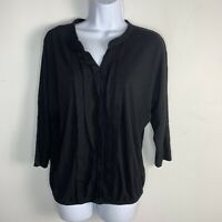 Talbots Womens Top Sz M Solid Black 3/4 Sleeve V Neck Casual Pullover Cotton L75