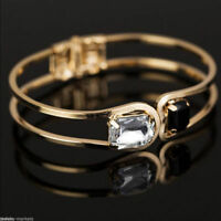 Womens Lady Gold Plated Black White Crystal Bracelet Bangle Wristband Open Cuff