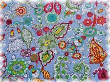 Christine Popeline blau Baumwolle Blumen und Ornamente 50 cm Webware