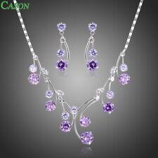 Purple Cubic Zirconia Necklace Earrings Jewelry Set for Women Wedding Jewelry