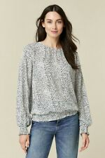 Wallis Womens White Spot Print Shirred Hem Top Long Sleeve Round Neck