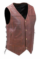 10 Pocket Dark Brown Leather Vest w/CCW Pockets #VM631LN - Size 42