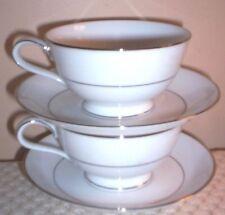 Vintage Noritake  Envoy Pair of Platinum Trim Cups & Saucers ~ Made in Japan