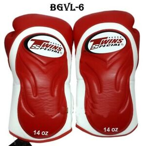 Twins Fancy Gloves BGVL-6 Red White  10,12,14,16 oz Sparring Boxing  MMA K1