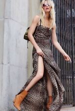 Rare Free People Brown Rococo Leopard Print Maxi Dress Gown Size Medium $230