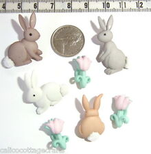 Novelty Buttons Embellishments Easter Cotton Tails Rabbit Bunny Flowers #369