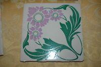 """Antique Art Nouveau Tiles 8"""" x 8"""" Majolica Floor Tile 1890s Lavender Flowers"""