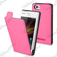 ACCESSORIES COVERS CASE COVER LEATHER PU TRUE REAL PINK FOR SONY XPERIA M