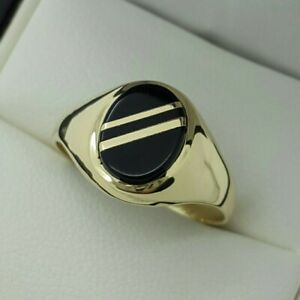 9ct Yellow Gold Onyx Signet Ring with Gold Inlay, Finger Size O 1/2