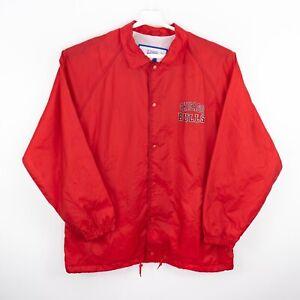 Vintage 90s Chicago Bulls Coaches Jacket Red Large L Logo 7 Rodman Pippen Jordan